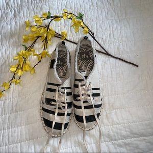 Tan/Charcoal Striped Sneakers